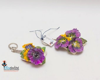 "Keychain Polymer clay Floral ""Pansies"" Unique handmade Accessories"