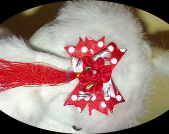 Puppy Bows ~ 6 color choices Poodle dog ear bows flowers tassels spikey pet hair bow barrettes or bands