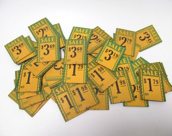 Vintage 1930's Store Sale Tags / 60 Cardboard Price Tags / Paper Ephemera / Vintage Shop Pricing / Set Decoration /Movie Prop / Scrapbooking