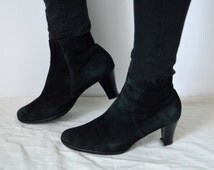 Black suede ankle boots Womens Gabor heels booties leather minimalist high fashion modern rock chick boots ladies goth UK 7 US 9.5 EU 40