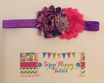 Pink and Purple Shabby Flower Headband