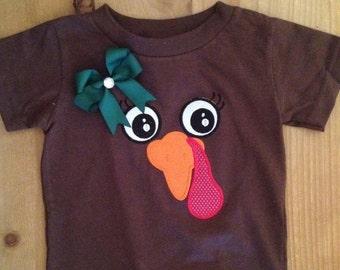 ON SALE Girly Turkey Face Shirt or Baby Bodysuit