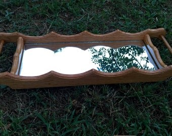 Handmade wooden Jewelry tray with Mirror