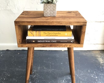 Pair of Mid Century Modern inspired  End Tables in Chestnut finish