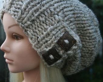 Knit Hat- Available in 10 different colors- Slouchy Beanie hat with 2 natural coconut buttons Winter Hat Womens Accessories
