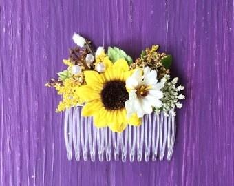 Sunflower Flower Comb, Flower Girl Hair Comb, Flower Girl Headpiece, Garden Wedding Floral Comb, Child Flower Comb, Child Bridal Hair Comb