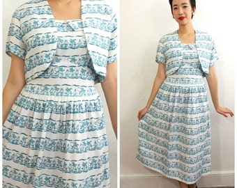 MOVING SALE 1940s 1950s Novelty Print Nautical Sail Boat Carribean Cotton Summer Garden Party Wedding Vintage Day Dress with matching bolero
