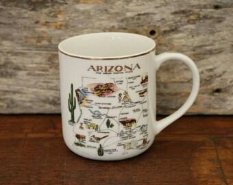 Arizona Vintage Mug, Coffee Tea Cup, State Mug, The Grand Cayon State, Map, Desert, 48th State, Gifts, Drinkware, AZ Collectibles