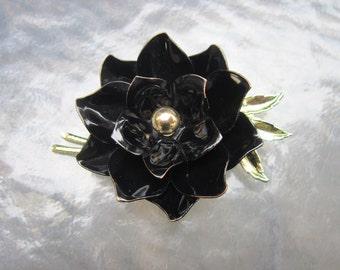 Vintage signed Coro black enamel flower brooch - estate jewelry