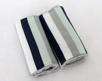 Cotton and Minky Strap Covers - Navy, Grey, Mint and White - Ready to Ship!