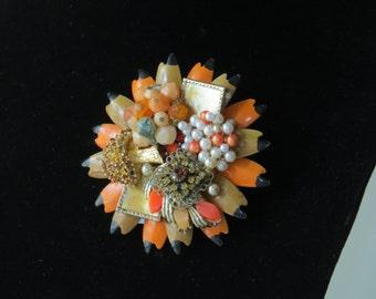 """VINTAGE EARRING BROOCH/ Brooch/ Orange/""""Fall Colors""""/ Repurposed Vintage/ Flower Brooch/ Flower Pin/ Peach/ White/ Vintage Earrings"""