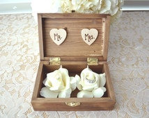 Personalized Engraved Woodburned Rustic Woodland Wooden Wedding Ring Box Mr Mrs Ring Box Real Touch Foam Flowers