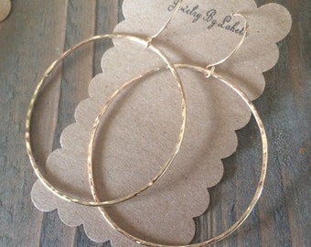 Gold Filled Hammered Hoops
