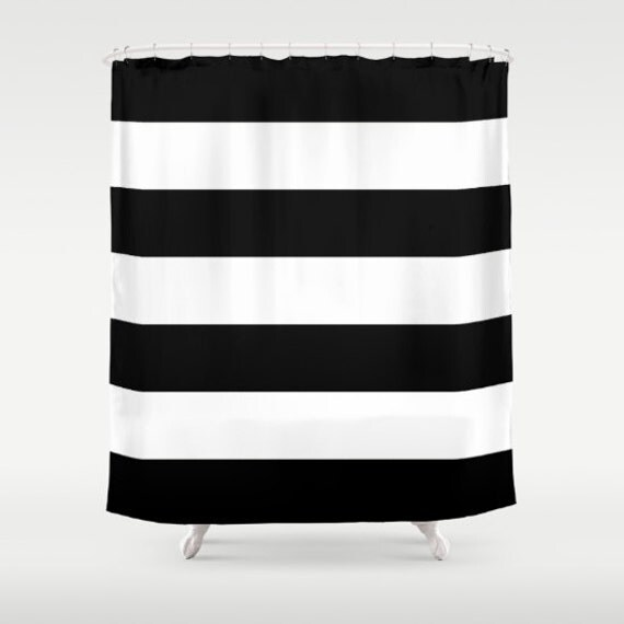 Items similar to black and white stripe shower curtain for Black and white striped bathroom accessories