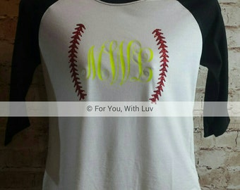 Softball Monogram Reglan Tee, Softball t-shirt, Personalized softball Shirt