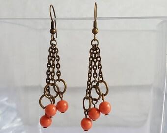 Dangle Earrings with Coral Swarovski Crystal Pearls
