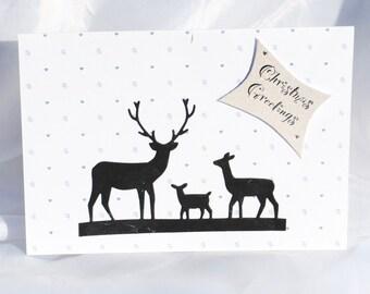 Stags  deer  silhouette  christmas card