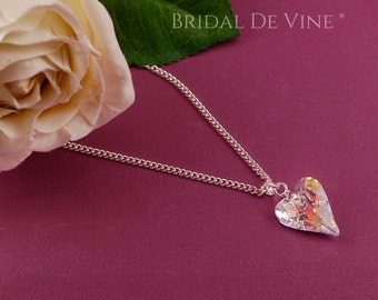 SALE -  Bridesmaid Wild Heart Necklace   made with CRYSTALLIZED™ - Swarovski Elements
