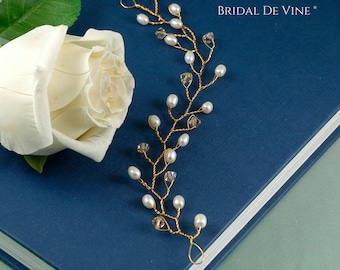 Bridal Hair Vine Gold Freshwater Pearls & Made with CRYSTALLIZED™ - Swarovski Elements