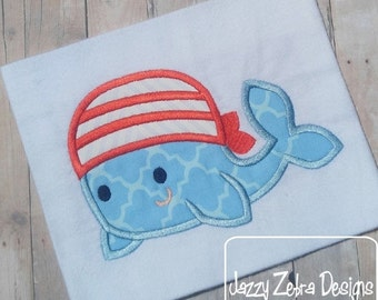 1st Mate Whale Pirate Applique Embroidery Design