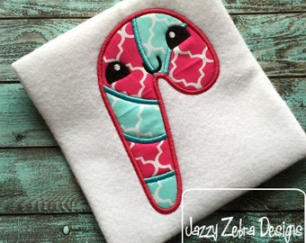 Candy Cane 96 with Face Appliqué Design - Candy cane Applique Design - Christmas Applique Design
