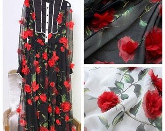 3D Flower Chiffon Fabric Skirt Fabric Wedding Dress Fabric lace fabric- 150cm x 1 m - zty