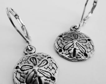 FREE SHIPPING sand dollar antique silver earrings
