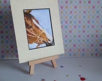 Mini Horse Portrait Painting,Original ACEO Horse,Mini Horse Painting,Mini Original Equine painting, Horse ACEO Portrait