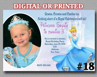 Cinderella Birthday Party Invitation with Photo YOU Print Digital File or PRINTED Cinderella Invitation Princess