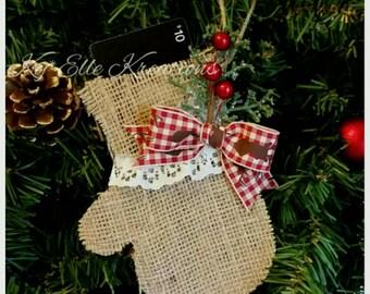 Mitten Gift Card Holder & Ornament, Burlap Mitten Ornament, Christmas Tree Ornament, Gift Card Holder, Present, Ornament, Christmas Decor