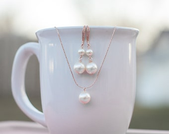 Single pearl rose gold earring set pink gold dangle earrings pink gold bridal jewelry blush and pearl bridal set pink gold wedding jewelry