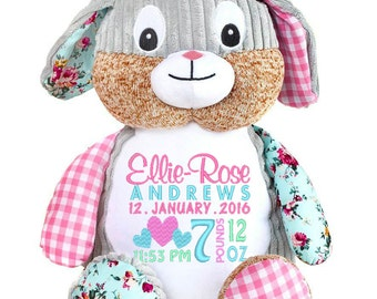 Personalised HARLEQUIN BUNNY Cubbies Stuffies Gift, Christening, Birthday, Wedding, Any Occasion, Any message