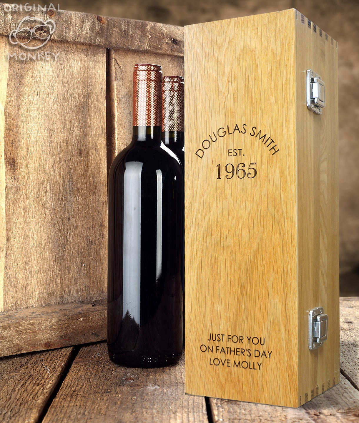 Fathers Day Gift Personalised Oak bottle box for