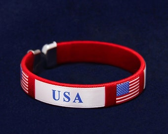 USA American Flag Bracelet (Retail) (RE-B-22-PT)
