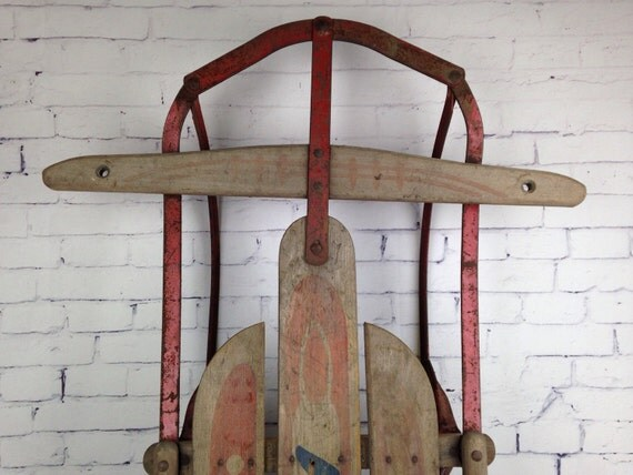 Antique Wood Snow Sled Wooden Childs Sled 1920s Wooden Sled