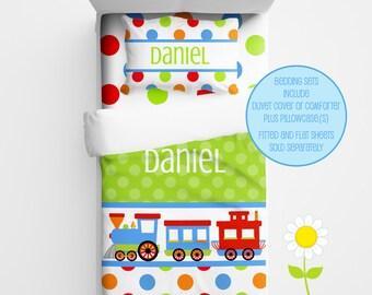 Personalized Train Bedding for Kids - Train Duvet or Comforter for Boys - Personalized Duvet Set for Kids - Custom Kids' Comforter