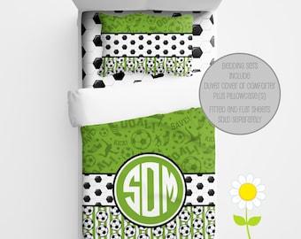 Personalized Soccer Bedding for Kids - Soccer Duvet or Comforter for Boys - Personalized Sports Duvet Set - Custom Kids' Comforter