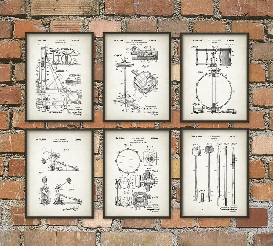 Drum Set Wall Decor : Drum patent prints set of drummer musician wall decor