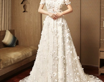 Embroidered floral short sleeves wedding dress