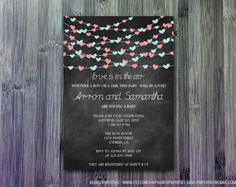 Love is in the air baby shower invitation | BAS12