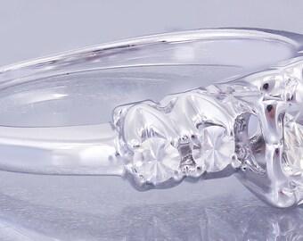 14k White Gold Round Cut Diamond Engagement Ring Art Deco Antique Style 0.72ctw