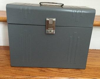 Industrial Grey Metal Storage File Box