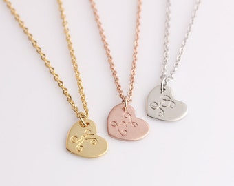 Personalized Minimal Initials Necklace - Womens Heart Name Charms - Dinaty Monogram Necklace - Girlfriend Gift - Wife Gift