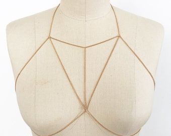 Geometric body bra bikini chain