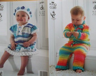 King Cole 3791 Knitting Pattern Baby Child dress hat and onsie  0-12months DK new