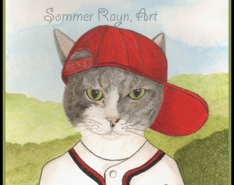 Baseball Kitty, Washington Nationals, Ready for Spring Training, Cats, Drawing with Watercolor Accents, Card or Print, Item #0431a