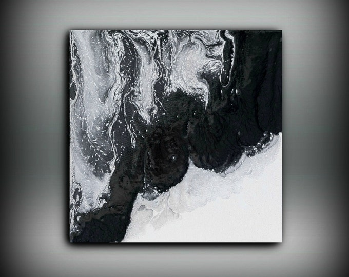 Art Painting Acrylic Painting Abstract Art Small Wall Art Black and White Home Decor Small Canvas Art, Small Wall Hanging 10 x 10