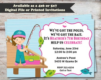 Fishing Girl Birthday Party Invitations, Fish Birthday Invitations, Girl Birthday Invitations, Fishing, Digital File or Printed Cards