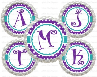 """20% OFF SALE Instant Download Purple and Teal Polka Dot Alphabet Letters Initials 1"""" Circle Bottle Cap Images"""