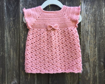 Crocheted baby tunic, baby dress, spring baby accessory, baby gift, photo prop, summer dress